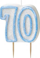 Kaars 70 jaar blauw