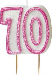 Roze 70 jaar verjaardagskaars