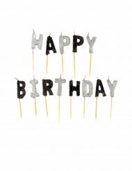 Set grijze Happy Birthday kaarsjes