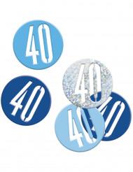 Blauw en grijze confetti 40 jaar
