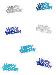 Blauw en grijze confetti Happy Birthday