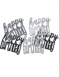 Zwart-grijs confetti Happy Birthday