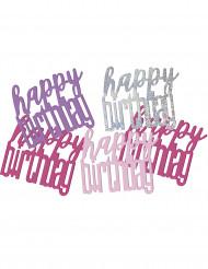 Grijs-roze Happy Birthday confetti