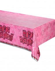Roze plastic Happy Birthday gevouwen tafelkleed