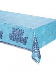 Blauwe Happy Birthday tafelkleed