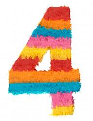 Kleurrijke cijfer 4 pinata