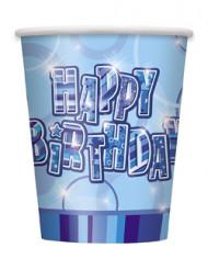 Set blauwe Happy Birthday bekers