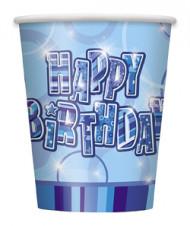 Blauwe Happy Birthday bekers
