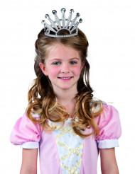 Zilverkleurige prinsessendiadeem met glitters voor kinderen