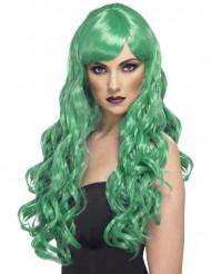 Lange pruik met golven in het groen voor dames