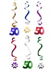 6 spiraalvormige 50 jaar hangdecoraties