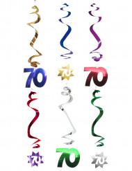 6 spiraalvormige 70 jaar hangdecoraties
