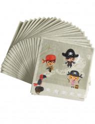 20 papieren servetten met piraat
