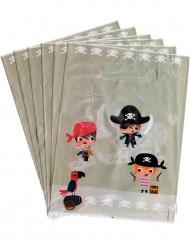 6 snoep tasjes met piraten