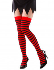 Zwart-rode gestreepte kousen voor volwassenen