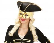 Glanzend goudkleurig halfmasker voor volwassenen