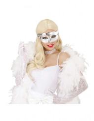 Glanzend zilverkleurig halfmasker voor volwassenen