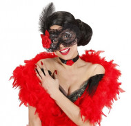 Zwart kanten halfmasker voor volwassenen