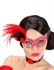 Roze en goudkleurig halfmasker met pluimen voor volwassenen