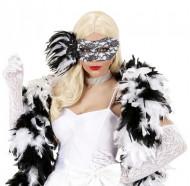 Zwart-wit kanten halfmasker voor volwassenen