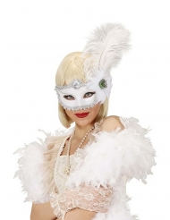 Wit halfmasker met pluimen voor volwassenen