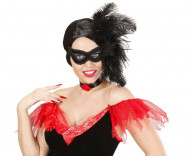 Fluweelachtig zwart halfmasker met pluimen voor volwassenen