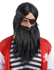 Zwarte pruik met baard voor volwassenen
