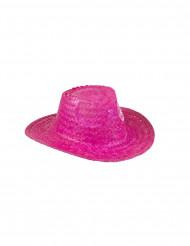 Roze cowboyhoed van stro voor volwassenen