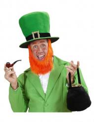 Hoge leprechaunhoed met baard voor volwassenen om Saint Patrick te vieren