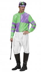 Groen-paars jockey kostuum voor volwassenen