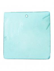 6 vierkant naambordjes turquoise