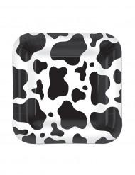 Vierkante borden met koeienprint 17,8 cm