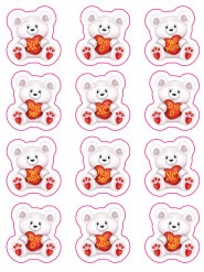 Valentijnsdag beren stickers