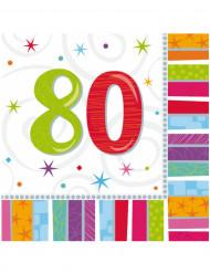 16 papieren servetten 80 jaar 33 x 33 cm