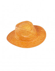 Oranje strooien cowboyhoed voor volwassenen
