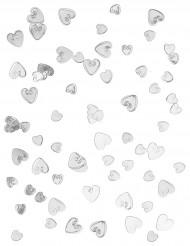 Confetti harten in een zilveren kleur