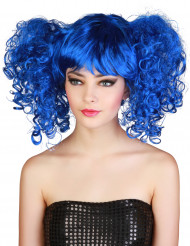 Blauwe pruik met staartjes voor dames