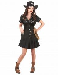 Zwart cowgirl kostuum voor vrouwen