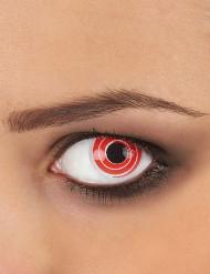 Fantasie contactlenzen rode en witte spiralen voor volwassenen
