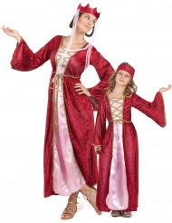 Middeleeuwse koningin koppelkostuum voor moeder en dochter