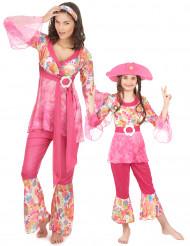Roze hippie kostuums moeder en dochter