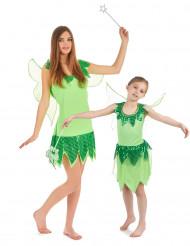 Groene feeën kostuums voor moeder en dochter