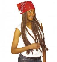 Bruine rasta pruik met rode haarband