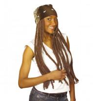 Bruine rasta pruik met hoofdband