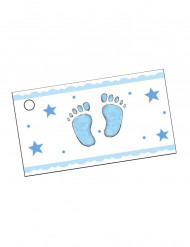 10 papieren etiketten met blauwe voeten