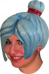 Blauwe latex manga pruik