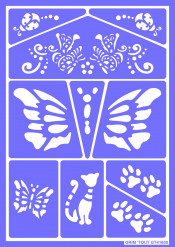 Herbruikbaar schminkstencil katten en vlinders - Grim