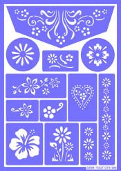 Herbruikbaar schminkstencil bloemen - Grim' Tout