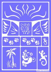 Herbruikbaar schminkstencil jungledieren - Grim