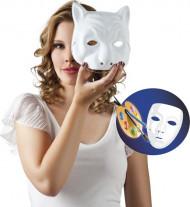 Wit verfbaar kattenmasker voor volwassenen